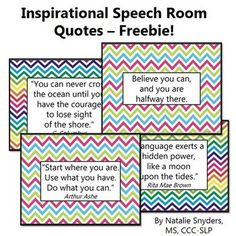 INSPIRATIONAL SPEECH LANGUAGE THERAPY ROOM QUOTE POSTERS - FREEBIE ...
