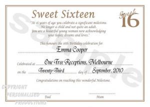 Sweet 16 Birthday Certificate -