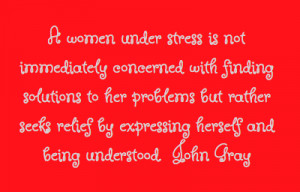 women under stress is not immediately concerned with finding ...