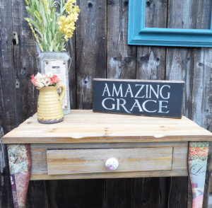 Amazing Grace, wooden block, mantle piece, wooden quote sign,