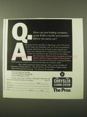 1971 Chrysler Leasing System Ad - Quote For Same Car