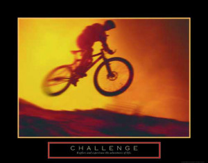 CHALLENGE Off-Road Mountain Biking Poster - Cycling Motivational ...