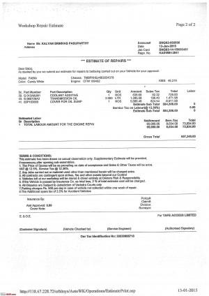 ... -BHP - Fabia engine seized, Skoda dealer quotes 6.6 lakhs for repair
