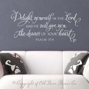 ... Wall Sticker - Delight yourself in the Lord - bible verse hand