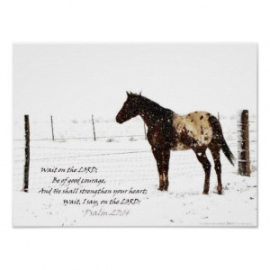 Winter Horse and Bible Verse Inspirational Poster