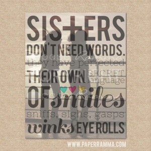 Sister gift // Sisters Don't need words, Q04 // Style: SUNSET ...