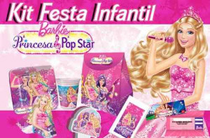 kit festa infantil barbie princesa pop star para 24 pessoas