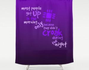 purple motivational quote shower cu rtain purple bathroom decor violet ...