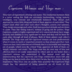 Capricorn woman and Virgo man I love him before i read this and its ...
