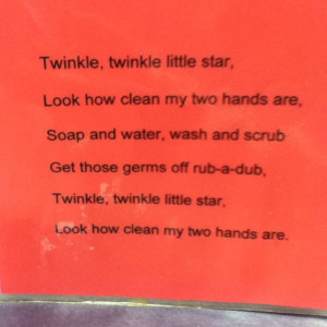 new hand washing song... relate to germs for science