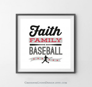 FAITH FAMILY BASEBALL - 10x10 inch Typographic Quote Poster Print for ...
