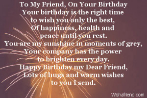 to my friend on your birthday your birthday is the right time to wish ...