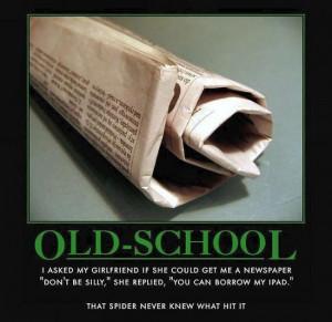 Newspaper versus ipad - spider