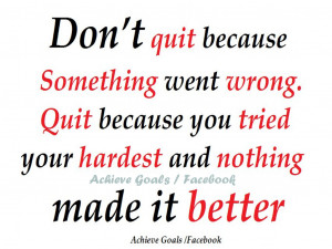 don t quit because something went wrong quit because you tried your ...