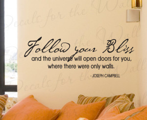 Wall Sticker Decal Quote Vinyl Lettering Follow Your Bliss Joseph ...
