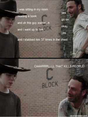 Carl that kills people meme the walking dead
