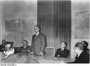 Alfred Rosenberg speaking at a press conference regarding his ...