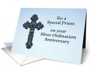 Priest Silver, 25th Ordination Anniversary, Ornate Cross card