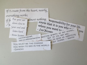 tear out the quotes from the inspiring quotes ephemera sheet
