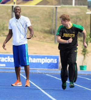 Prince Harry Races Usain Bolt, Quotes Bob Marley During Trip to ...