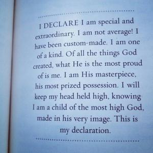 Joel Osteen I declare I am special.....