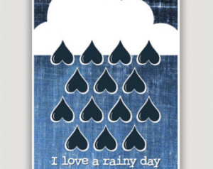 rainy day blues digital art print digital illustration april showers ...