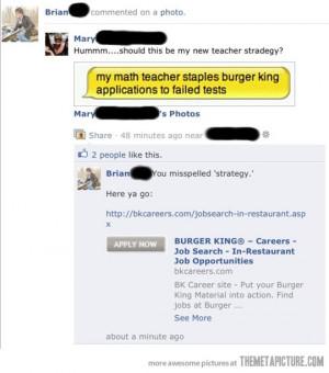 funny Facebook teacher owned spelling mistake