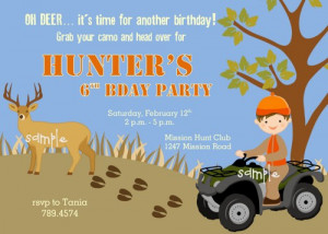 Deer Hunting Outdoor themed printable Birthday Party Invitation