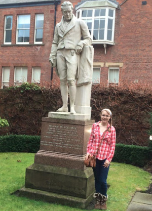 Kelly at the William Wilberforce statue in Hull