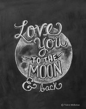 Love You To The Moon and Back Print - Chalkboard Art - Nursery Print ...