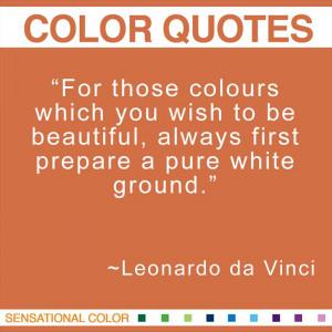 Quotes About Color by Leonardo da Vinci -