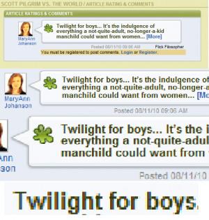 """Twilight For Boys"""" – The New Scott Pilgrim Review Meme"""