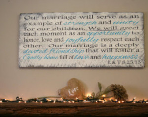 Religious Wedding Anniversary Quotes Marriage vows pallet sign