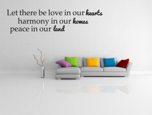Let there be love peace and harmony quote vinyl wall decal decor (v289 ...