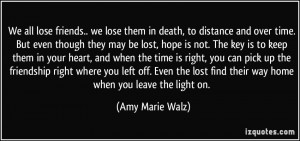 Friendship Distance Quotes We all lose friends.. we lose