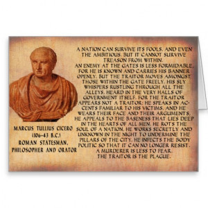CICERO QUOTE - NATION CANNOT SURVIVE TREASON GREETING CARD