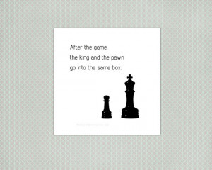Life Quote Print, chess, typography, black and white