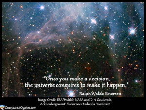 Nasa image of deep space with motivational universe quote from Emerson