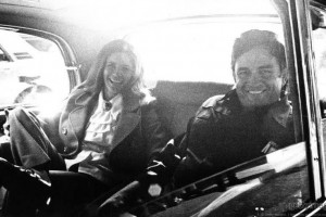 Johnny & June in their limo 1972