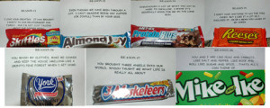 Josh sent me on a candy bar treasure hunt for our 9th anniversary.