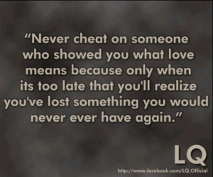Cheating kills the relationship