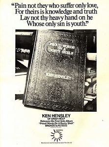 KEN HENSLEY PROUD WORDS ON A DUSTY SHELF2 ALBUM ADVERT 15X12