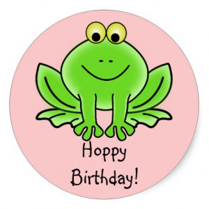 Cute Cartoon Frog Hoppy Birthday Funny Greeting Sticker