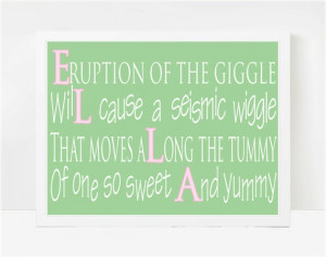 Little Girl Quotes, Baby Poems For Girls, Nursery Wall Art, Ella 8x10 ...