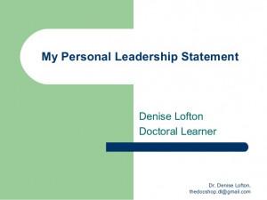 my personal leadership statement my personal leadership statement ...