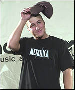 Napster founder Shawn Fanning appeared on stage in a Metallica t-shirt ...