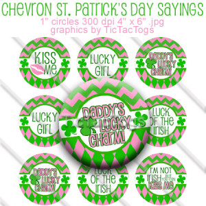 St. Patrick's Day Pink Green Chevron Sayings Bottle Cap Images ...