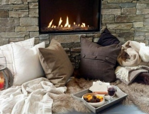 soft pillows and furry blankets make it even cozier}