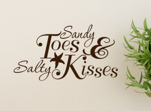 Toes And Salty Kisses Beach Decor Decal - Starfish Wall Decal - Beach ...