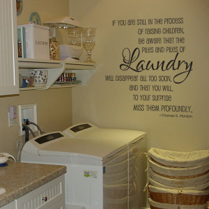 Laundry piles laundry room vinyl wall decal by GrabersGraphics